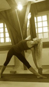 Utthita Trikonansa met yoga-blok